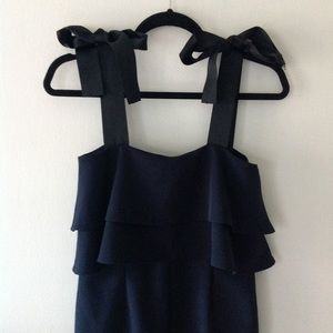 ASOS Ruffled Popover Jumpsuit Bows Navy Black 🌑 2